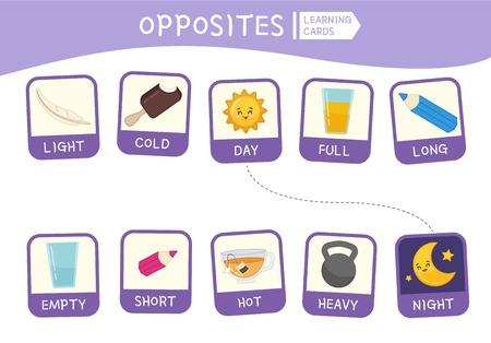 Passendes Lernspiel für Kinder. Spiel der Gegensätze. Aktivität für Kinder und Kleinkinder im Vorschulalter. Vektorgrafik