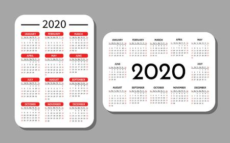 Pocket calendar template. Calendar grid for 2020. Horizontal and vertical orientation. 矢量图像