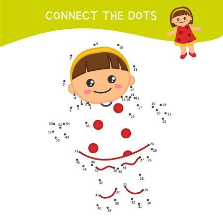 Lernspiel für Kinder. Punkt-zu-Punkt-Spiel für Kinder. Süße Puppe der Karikatur. Vektorgrafik