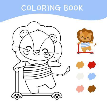 Libro de colorear para niños. Ilustración de vector de un lindo leoncito montando un scooter.