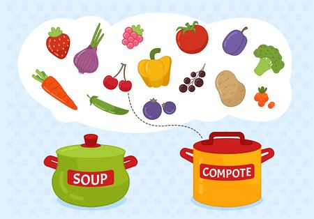 Matching children educational game. Match of pans and fruits/vegetables. Activity for pre sсhool years kids and toddlers.