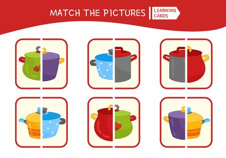 Matching children educational game. Match parts of pans. Activity for pre sсhool years kids and toddlers.