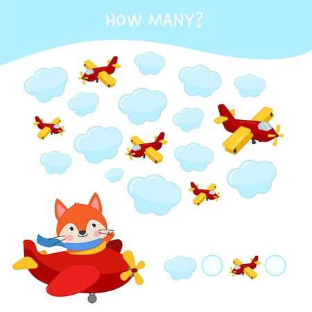 Counting educational children game, math kids activity sheet. How many objects task. Illustration of cute cartoon fox. Vettoriali