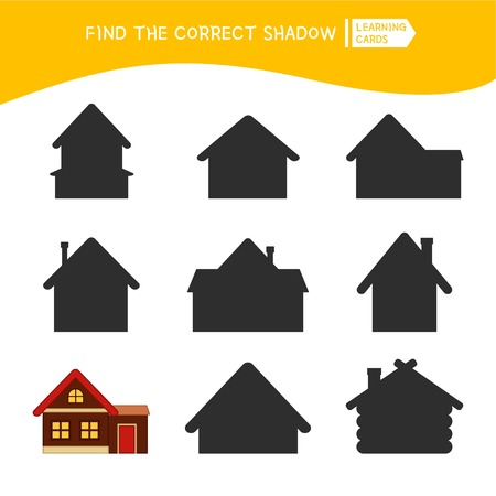 Educational  game for children. Find the right shadow. Kids activity with cartoon house. Ilustracja