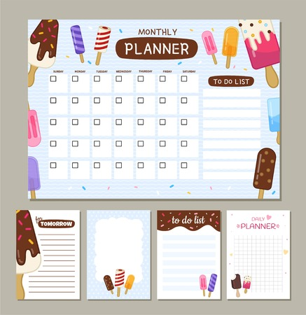 Vector monthly planner with cute ice creams. Template of to do list and notes.