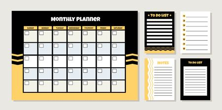 Vector monthly planner with geometric pattern. Template of to do list and notes. Ilustração