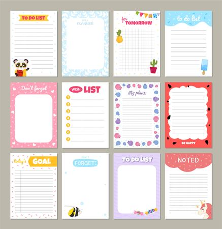 Vectorkaarten voor notitieboekje, dagboek, stickers en andere sjablonen. Schattige cartoon afbeelding.