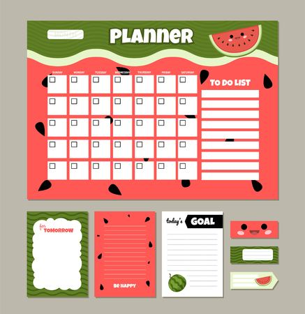 Vector monthly planner with cute watermelon. Template of to do list and notes.