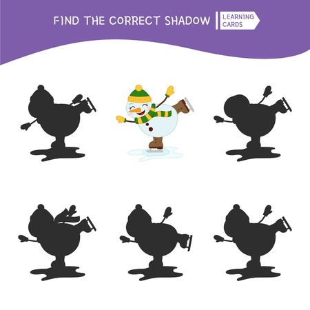 Educational  game for children. Find the right shadow. Kids activity with cartoon snowman. Illustration