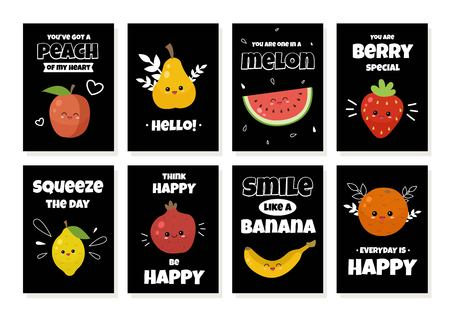 Vector set of cards with cute cartoon fruits and quotes. Template for cards, banners, posters, calendars.