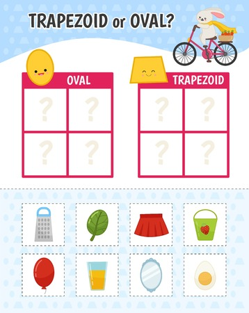 Educational game for children with pictures. Kids activity sheet. Trapezoid or oval?  Cartoon illustration of trapezoid or oval objects. Illustration
