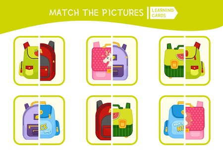 Matching children educational game. Match parts of cartoon backpacks. Activity for pre sсhool years kids and toddlers. Illustration