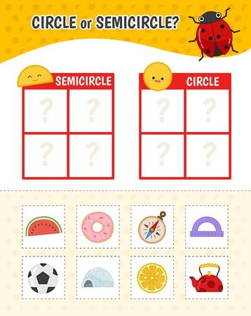 Lernspiel für Kinder mit Bildern. Aktivitätsblatt für Kinder. Kreis oder Halbkreis? Karikaturillustration von Kreis- oder Halbkreisobjekten.