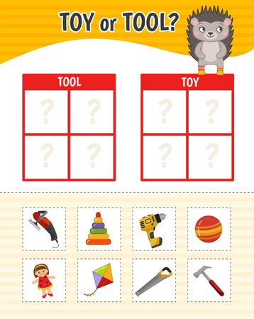 Educational game for children with pictures. Kids activity sheet. Toy or tool? Cartoon illustration of cute hedgehog.
