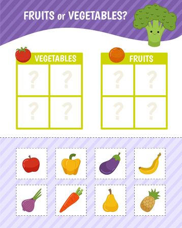 Educational game for children with pictures. Kids activity sheet. Fruits or vegetables? Cartoon illustration of fruits and vegetables. Vektorové ilustrace
