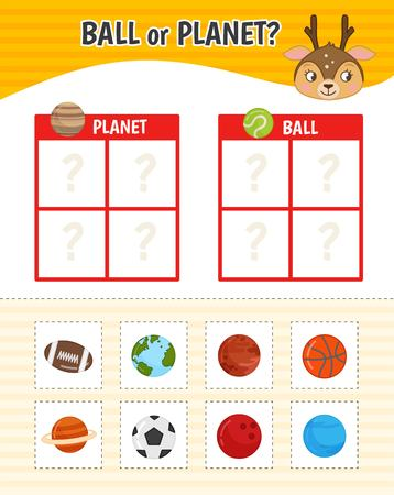 Educational game for children with pictures. Kids activity sheet. Ball or planet? Cartoon illustration of cute deer.