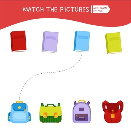 Matching children educational game. Match of backpacks and books. Activity for pre s?hool years kids and toddlers.