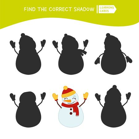 Educational  game for children. Find the right shadow. Kids activity with cute snowman