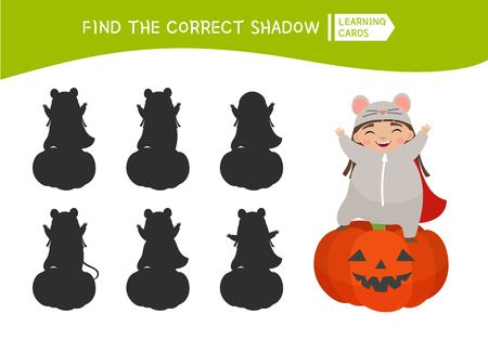 Educational  game for children. Find the right shadow. Kids activity with cute child in mouse costume.