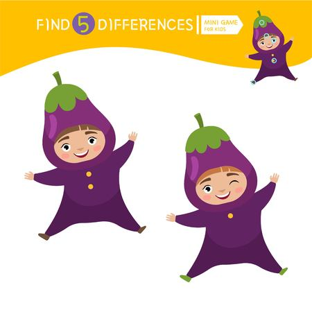 Find differences.  Educational game for children. Cartoon vector illustration of cute child in eggplant costume.