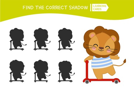 Educational  game for children. Find the right shadow. Kids activity with cute lion.