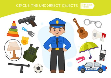 Educational game for children. Cartoon policeman. Circle the uncorrect objects. Vettoriali