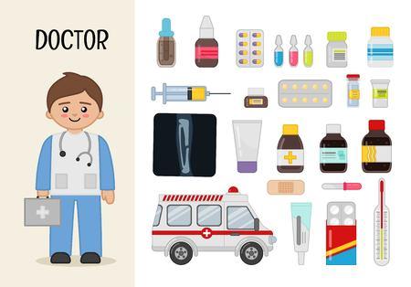 Médico de carácter vectorial. Ilustraciones de medicamentos. Conjunto de profesiones de dibujos animados. Ilustración de vector