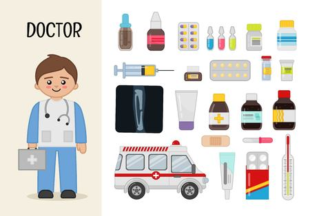 Vector character doctor. Illustrations of medicines. Set of cartoon professions.