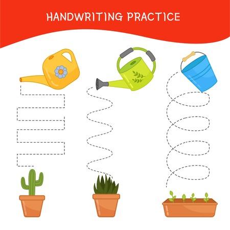 Hoja de práctica de escritura a mano. Escritura básica. Juego educativo para niños. Regaderas de dibujos animados. Ilustración de vector