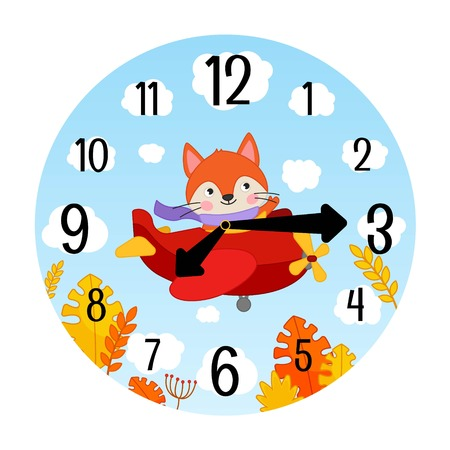 Vector template of children's watches. The basis of the clock for the children's room. Illustration of a cute little fox on an airplane