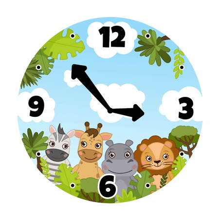 Vector template of children's watches. The basis of the clock for the children's room. Illustration of a cute african animals.