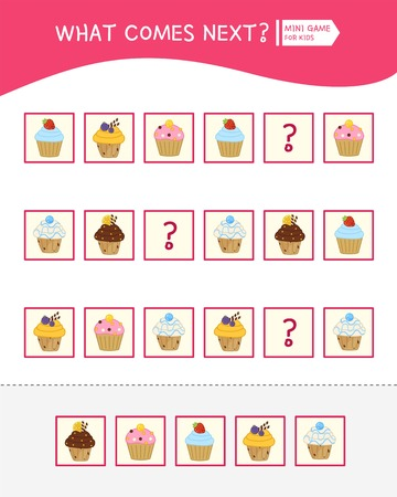 What comes next educational children game. Kids activity sheet,  Cartoon cakes.
