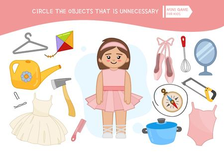 Educational game for children. Cartoon ballerina. Circle the objects that is unnecessary.
