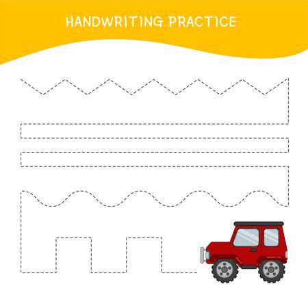 Handwriting practice sheet. Basic writing. Educational game for children.  Cartoon red car. Ilustração