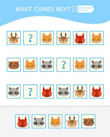 What comes next educational children game. Kids activity sheet,  Cartoon cute animal faces.