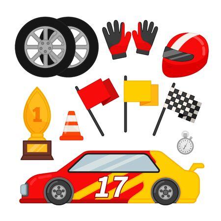 Jeu d'icônes vectorielles de course automobile. Voiture de sport, roues, drapeaux, casque et autres symboles.