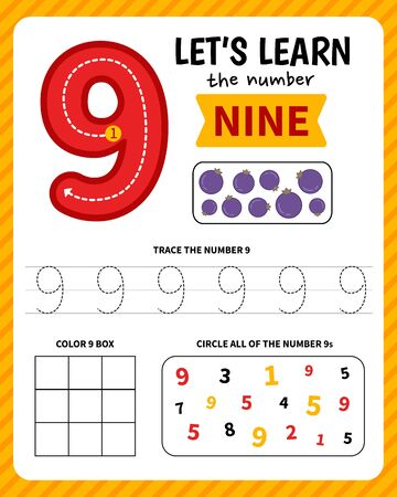 Kids learning material. Worksheet for learning numbers. Number 9.