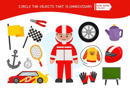 Educational game for children. Cartoon race driver. Circle the objects that is unnecessary.