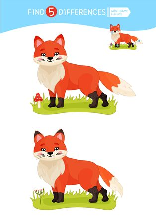 Find differences.  Educational game for children. Cartoon vector illustration of cute fox. Stock Illustratie