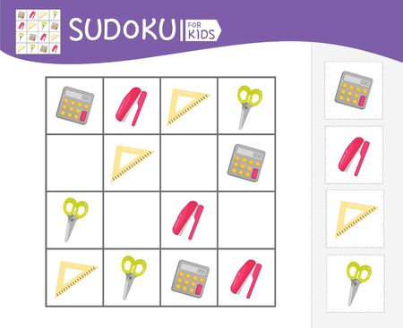 Sudoku game for children with pictures. Kids activity sheet.  Cartoon school stationery. Çizim