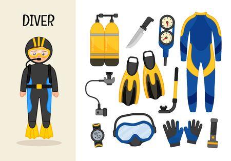 Taucher mit Vektorcharakter. Illustrationen von Taucherausrüstung. Reihe von Cartoon-Berufen. Vektorgrafik