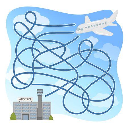 Maze game for children. Cartoon plane in air.