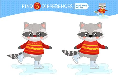 Find differences.  Educational game for children. Cartoon vector illustration of cute racoon. Stock Illustratie