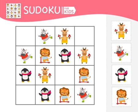 Sudoku game for children with pictures. Kids activity sheet. Cartoon cute animals.