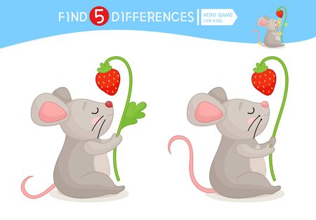 Find differences.  Educational game for children. Cartoon vector illustration of cute mouse with strawberry.