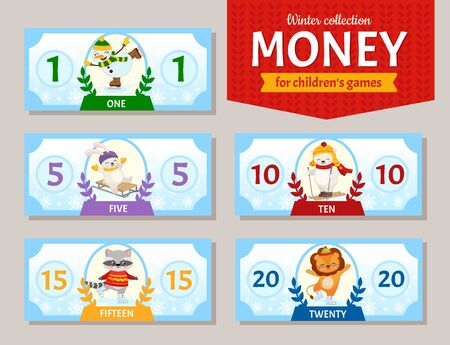 Vector set of paper money for childrens games. Cute cartoon animals. Learning material for kids.  Winter collection.