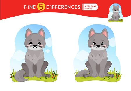 Find differences.  Educational game for children. Cartoon vector illustration of cute little wolf.