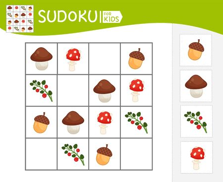 Sudoku game for children with pictures. Kids activity sheet.  Cartoon forest elements. Stock Illustratie