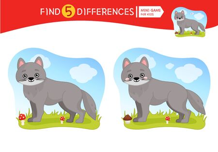 Find differences.  Educational game for children. Cartoon vector illustration of cute wolf. Stock Illustratie