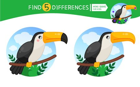 Find differences.  Educational game for children. Cartoon vector illustration of cute toucan. Banco de Imagens - 130736381